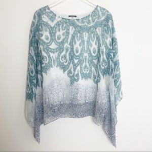 Milano Sheer Paisley Poncho With Built in Tank Top